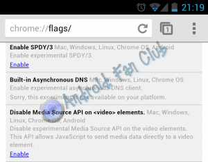 Flags Feature for Google Chrome Beta for Android