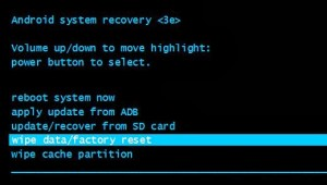 Android System Recovery - Wipe data / factory reset