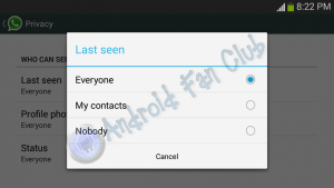 WhatsApp Privacy Options - Hide Last Seen Status